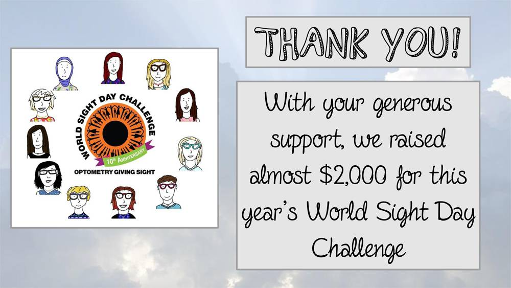 Thank You! With your generous support, we raised almost $2,000 for this year's World Sight Day Challenge. Drawings of team members surrounding World Sight Day Challenge logo.