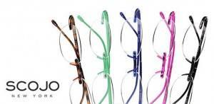Scojo New York logo and photo of five Scojo glasses frames