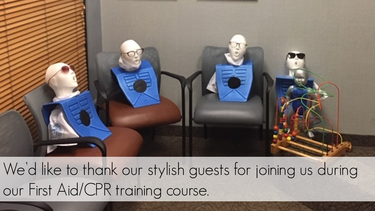 Photograph of CPR dummies wearing eyewear and sitting on waiting room chairs. We'd like to thank our stylish guests for joining us during our First Aid/CPR training course.