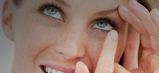 Optometrist, woman wearing contact lenses in Huntington Station & Lake Grove, NY