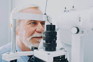 Senior Patient Receiving Eye Exam