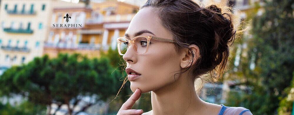 woman wearing Seraphin eyeglasses