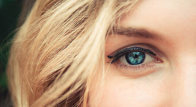 Woman with blue eyes up close