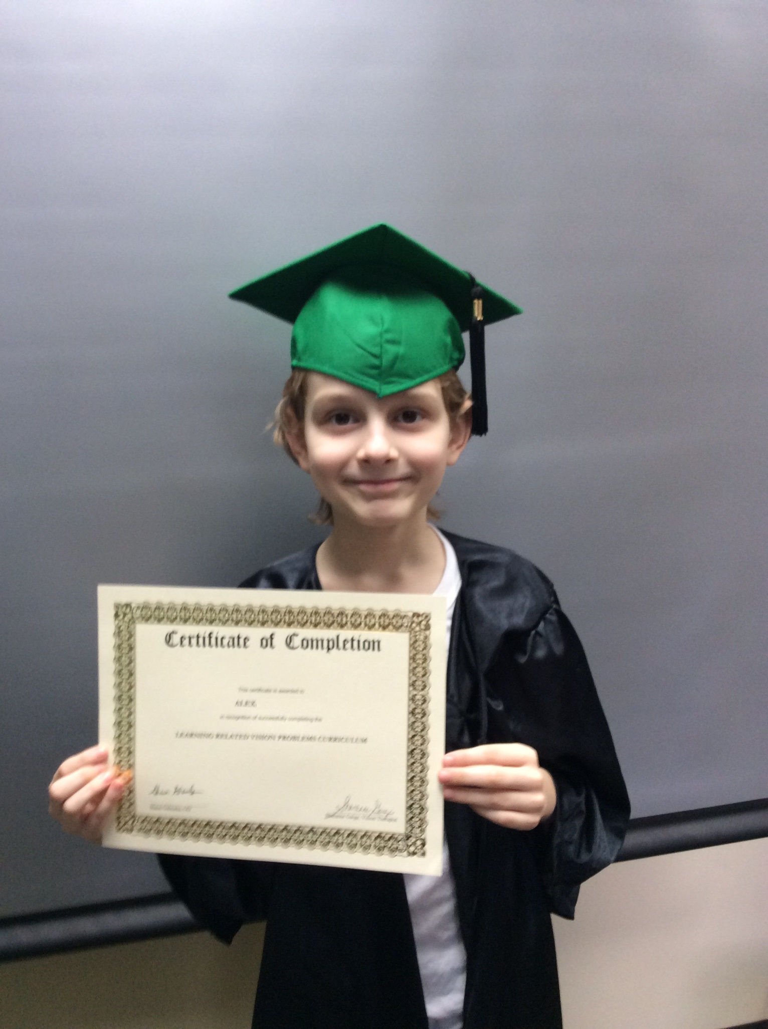 Our vision therapy graduate Alex