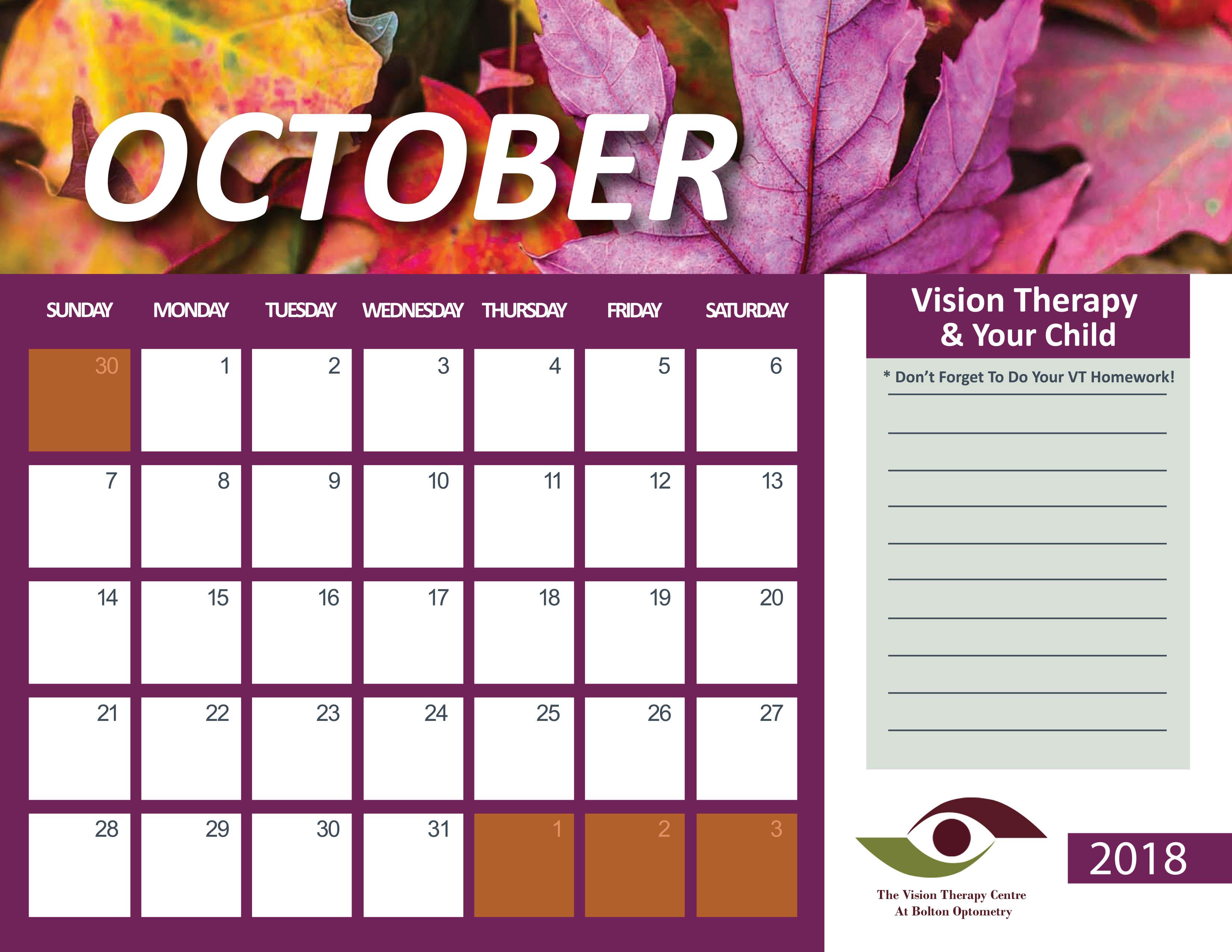 PrairieVision Oct Calendar letter