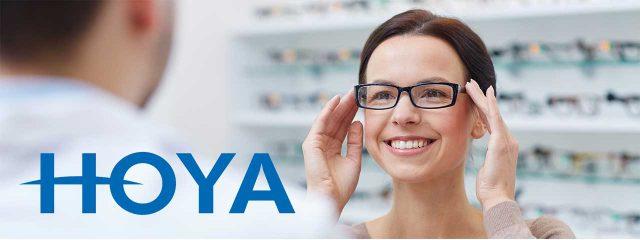 eye care, woman wearing hoya lenses in Bolton, ON