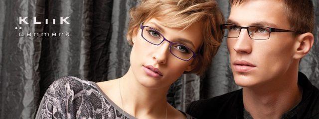 Eye doctor, woman & man wearing Kliik eyeglasses in Oak Brook, IL