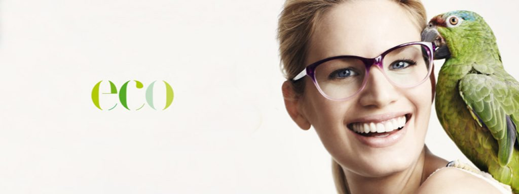 Eye doctor, woman wearing Eco eyeglasses in Carrollton, TX