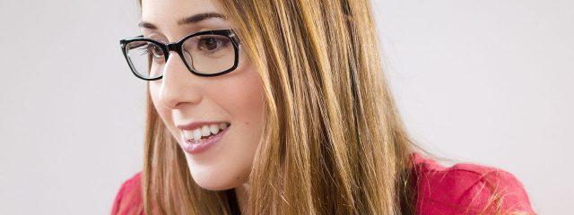 Eye doctor, woman wearing progressive lenses eyeglasses in Carrollton, TX