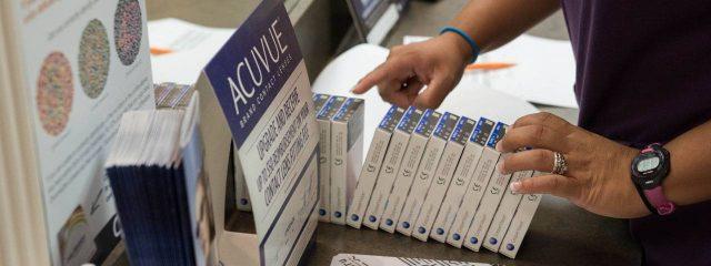 Eye doctor, boxes of contact lenses in Carrollton, TX