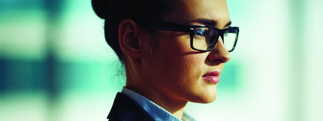 Eye care, woman wearing polycarbonate eyeglasses in Plano, TX