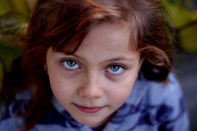 Eye doctor, little girl blue eyes in New Baltimore, Michigan