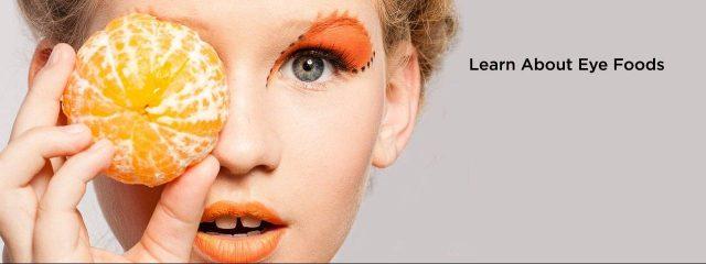 Eye doctor, woman holding an orange over her eye in Albertville, Alabama