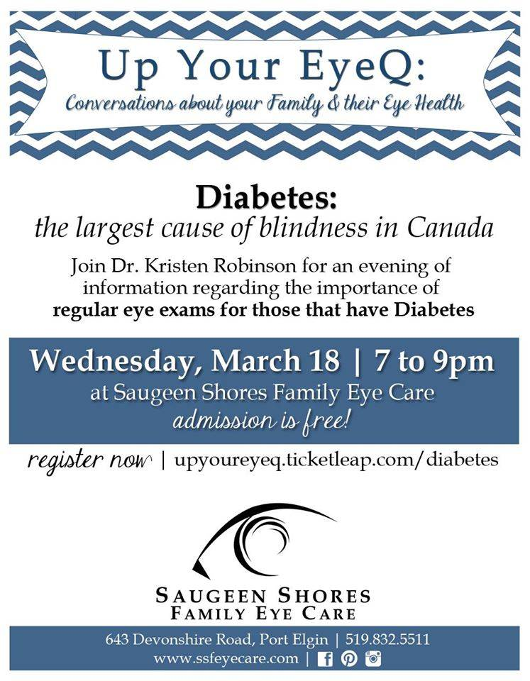 diabetes eye care evening Port Elgin, ON