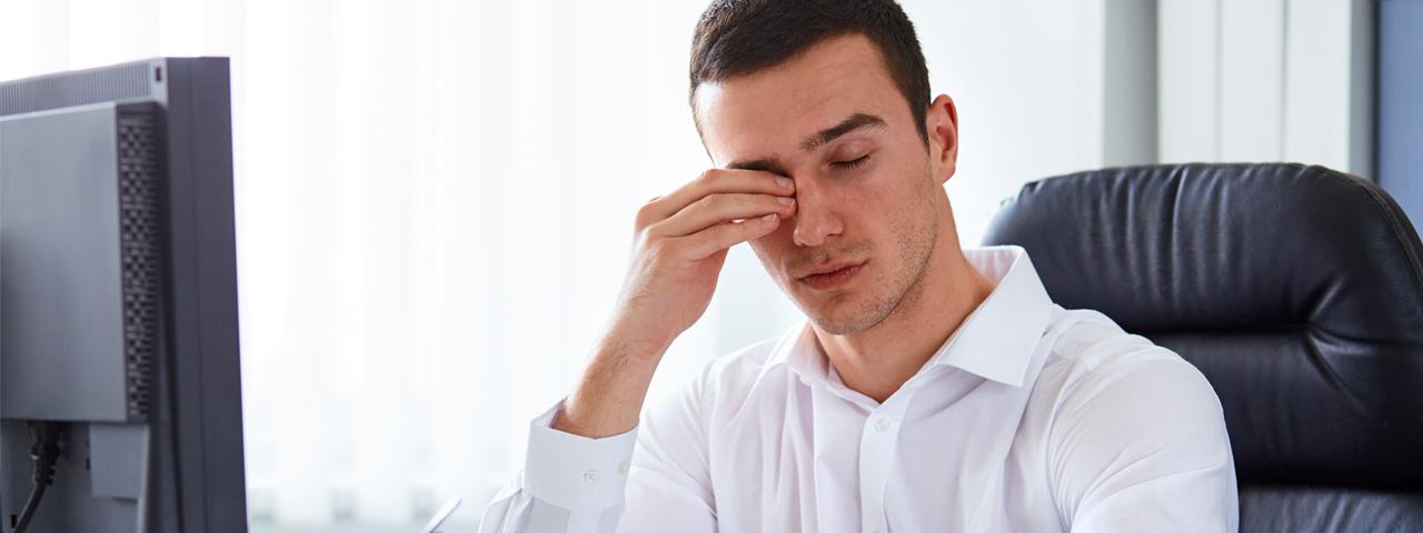 Eye care, man with dry eyes in Irvine & Laguna Beach, CA