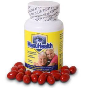 Bottle of MacuHealth supplement pills.