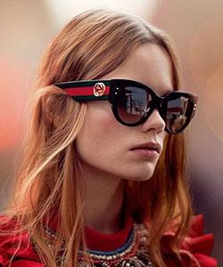 Eye exam, Model wearing GUCCI sunglasses in Calgary, CA