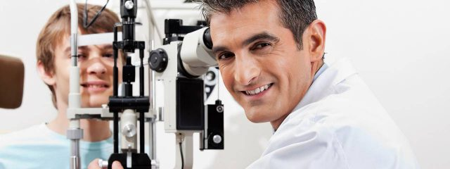 Eye care, boy at an eye exam in Calgary, AB