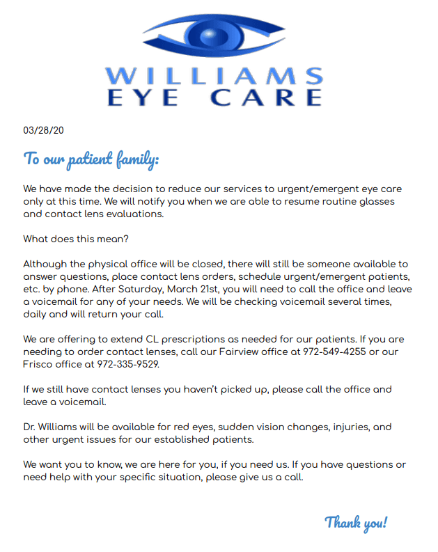 office update 2 williams eye care