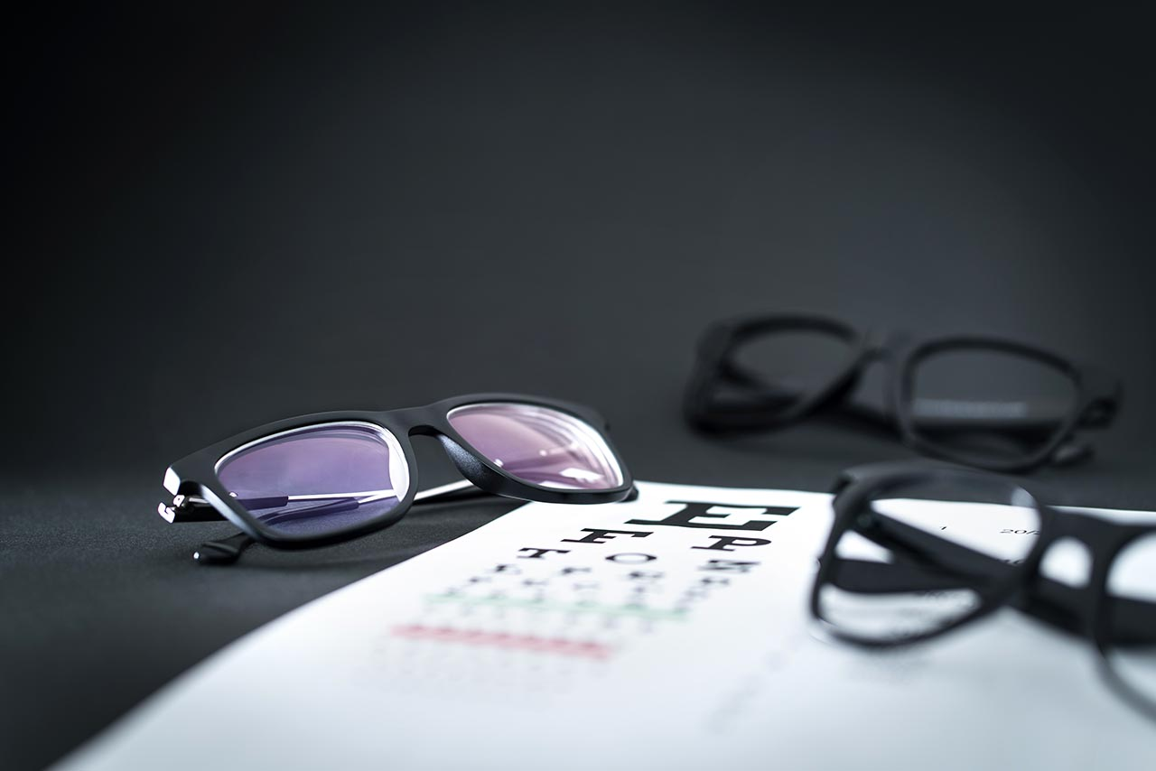 eyeglasses on top of eye chart