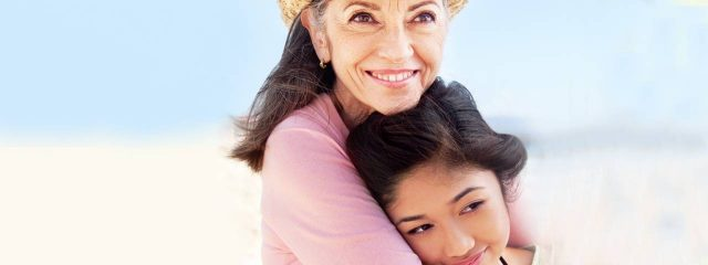 Eye doctor, senior woman with her granddaughter in Llano, Texas