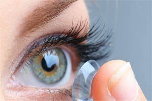 contact lense on a finger