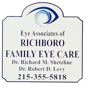 Eye Associates of Richboro Family Eye Care sign & logo with phone number 215-355-5818 and Dr. Richard M. Shetzline and Dr. Robert D. Levy