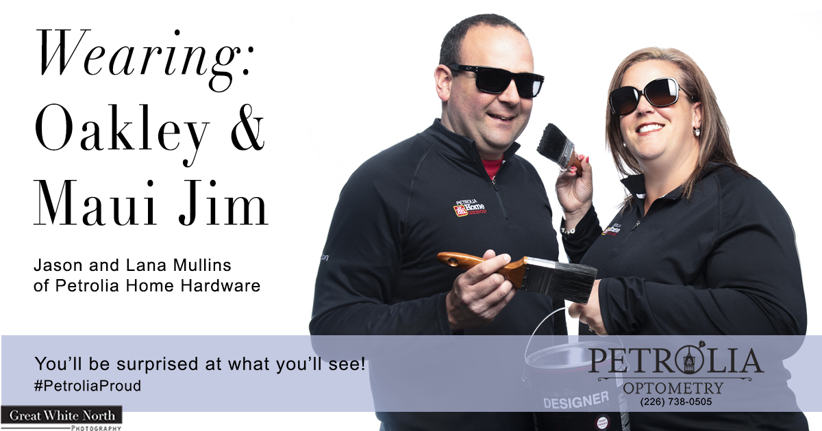 Man and woman wearing sunglasses, Oakley and Maui Jim