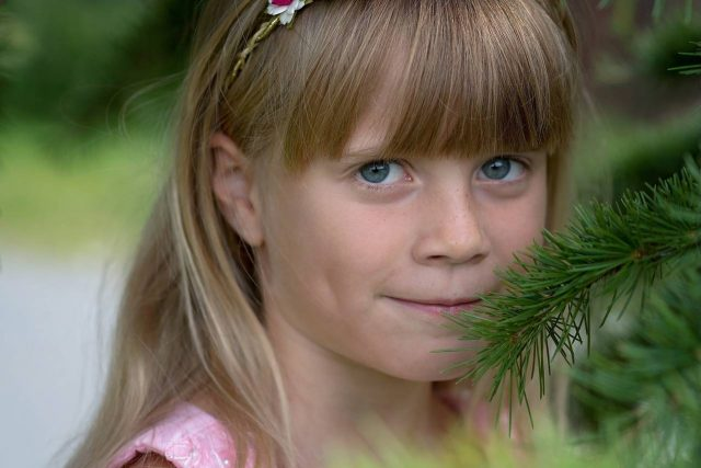 Girl Wearing Soft Multifocal Contact Lenses