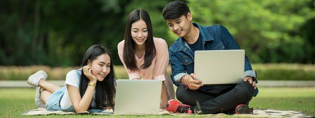 Optometrist, teenagers looking at their laptops in West Orange, NJ