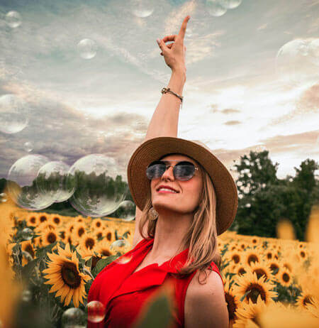 woman in sunflowers