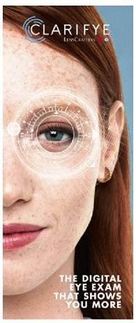 Optometrist - Clarifye Digital Eye Exam ad with fair skinned brunette woman for Lenscrafters in Chapel Hill Mall