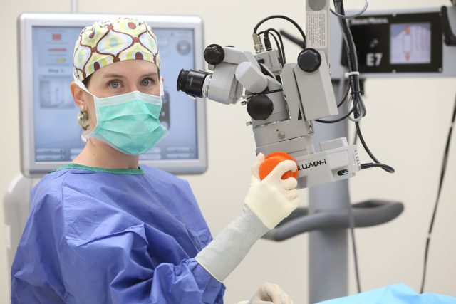 Eye doctor, Dr. Miles during surgery in Tupelo, MS