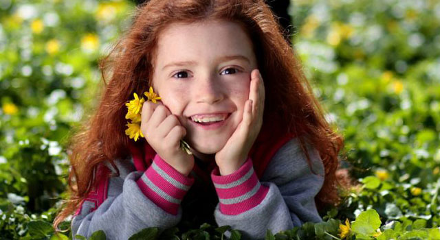 Girl with myopia in fort worth smiling Grass Flower