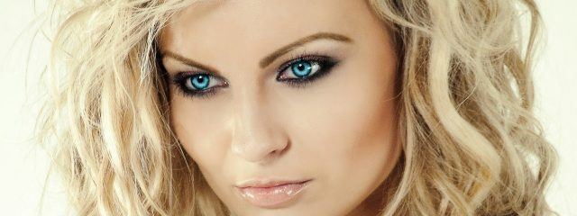 Optometrist, woman blue eyes wearing scleral contact lenses in Greensburg, Pennsylvania