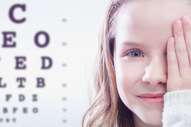 Eye doctor, girl covering her right eye in Clearwater, FL