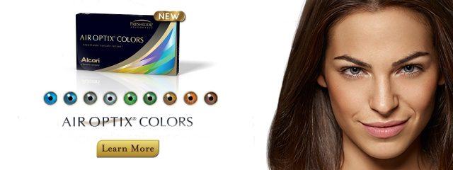 Optometrist, woman wearing air optix colors contact lenses in Philadelphia & North Wales, PA
