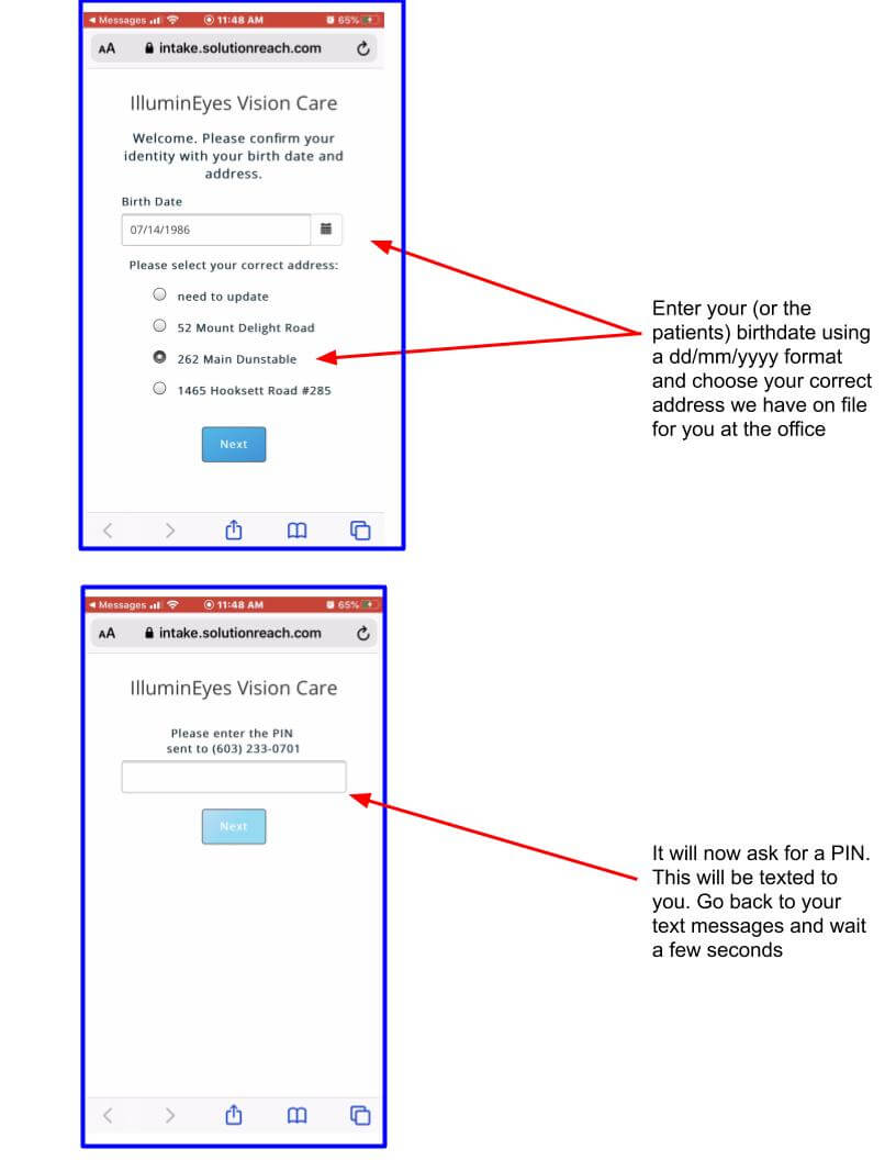 Intake Phone instructions walk through help