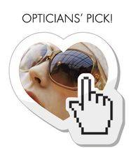 woman wearing sunglasses with hand pointing to text opticians pick
