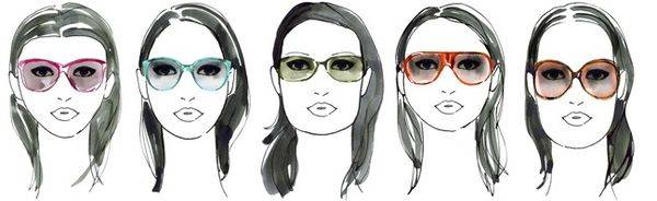 colorful glasses on woman with different face shapes
