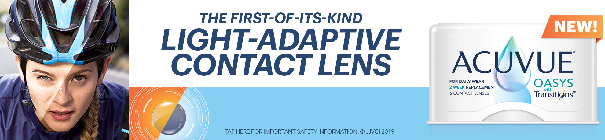 Ad for acuvue light adaptive contact lenses