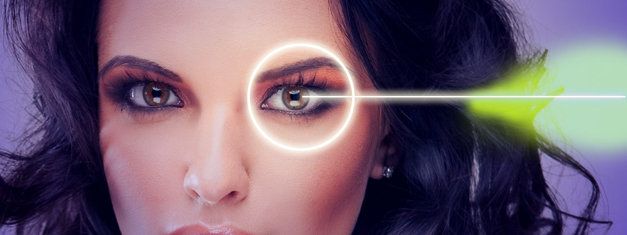 Woman with light shining over eye - eye care - optometrist - Edison, NJ
